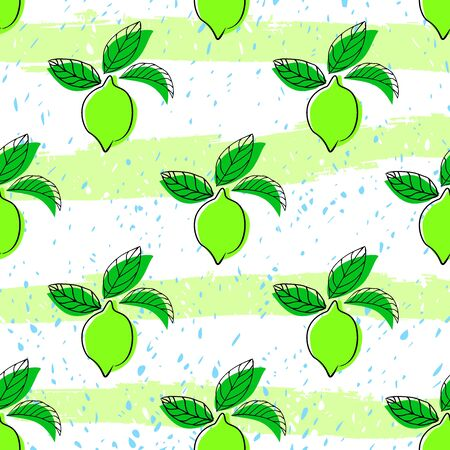 Lime seamless pattern. Seamless pattern with lime on light background. Fruit lime background.  イラスト・ベクター素材