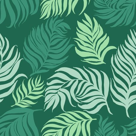 Neo mint vector pattern with palm dypsis leaves on dark background. Seamless summer palm vector dypsis tropical design.