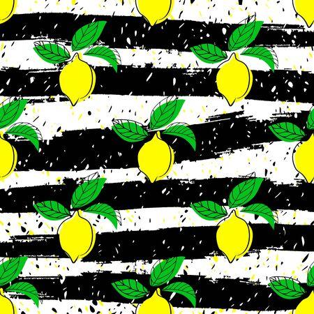 Lemon seamless vector pattern. Seamless pattern with lemon on light background. Çizim