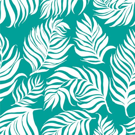 Seamless pattern with white palm dypsis leaves on blue background. Seamless summer palm dypsis leaves tropical fabric design. Dypsis lutescens seamless pattern. Ilustración de vector