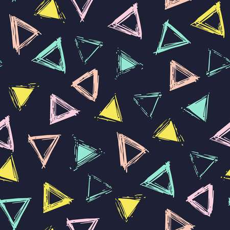 Triangles colors on dark background seamless pattern hand draw. Decorative illustration linocut, good for printing. Great for label, print, packaging.