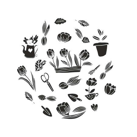 Gardening seamless vector pattern or textile prints, cards, design. Flat style vector. Gardening seamless vector background.