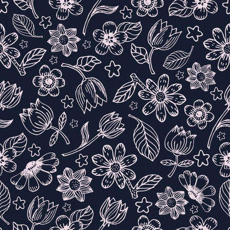 Flowers and leaves vector seamless pattern. Seamless hand draw vector pattern. Background with decorative flowers and leaves seamless. Spring and summer seamless pattern