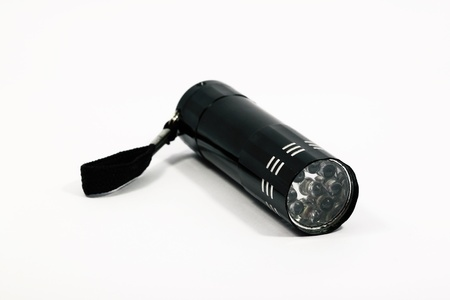 LED flashlight isolated on white background