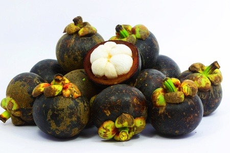 Mangosteen tropical fruit with white background Stock Photo