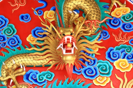 Colorful of chinese style dragon statue photo