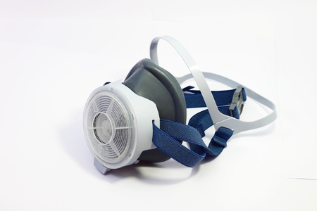 Gas mask used to protect on white background Stock Photo
