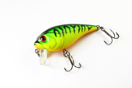 Colorful fishing lure with white background Stock Photo
