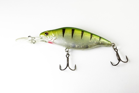Colorful fishing lure with white background photo