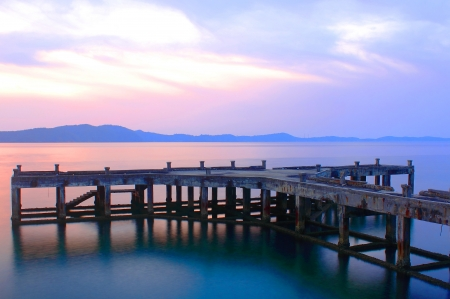 Old pier at khao leam ya Mu ko samet of Thailand photo