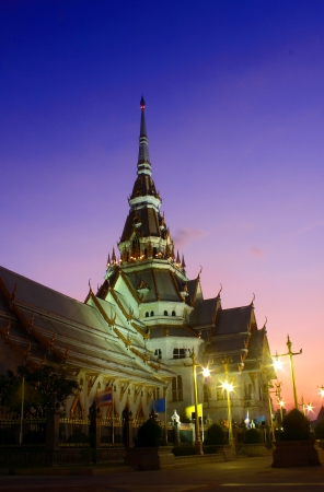 Sunset at Wat Sothorn Wararam Worra Wiharn Temple in Thailand