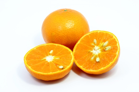Orange and slice on white background photo