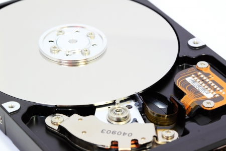 Hard disk on white background photo