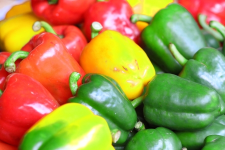 Colorful peppers with background Stock Photo