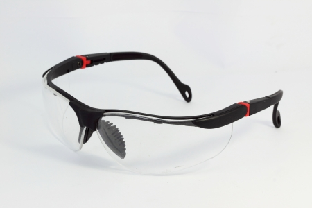 Safety glasses with white background Stock Photo