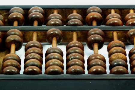 Old abacus with white background
