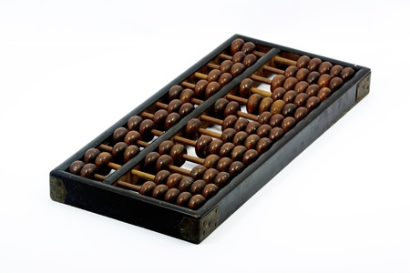 Old abacus with white background photo