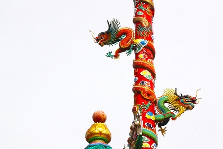 A statue of a dragon on a pole in the Chinese temple photo