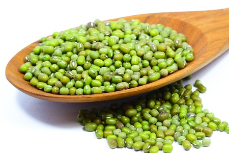 Green mung beans on white background Stock Photo
