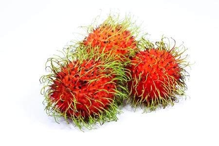 Fresh rambutan sweet delicious fruit with white background