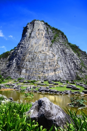 Buddha laser on the moutain at chonburi province in thailand   Khao Chee chan Buddha Image   photo