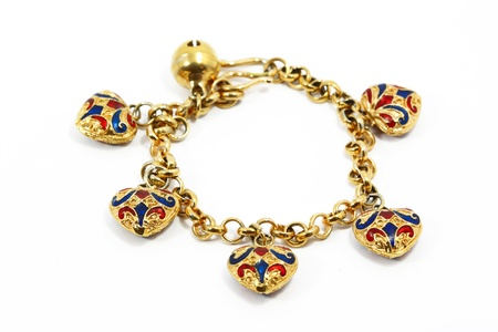 Golden bracelet with white background