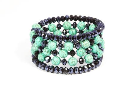 Turquoise bracelet with white background photo