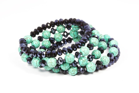 Turquoise bracelet with white background