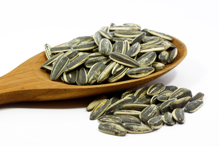 Sunflower seeds with white background