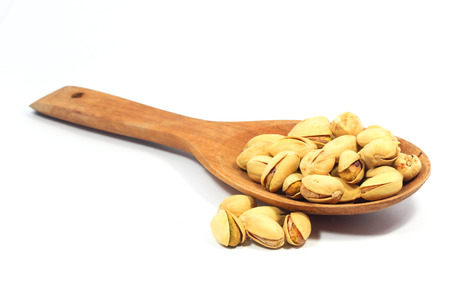 Pistachios with white background