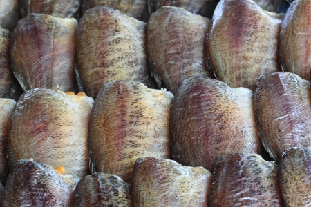 Dried fish sold in the market photo