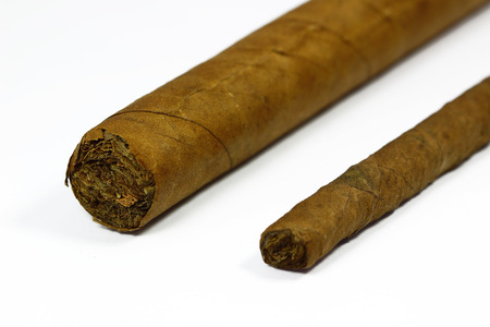 big and small cigar with white background photo
