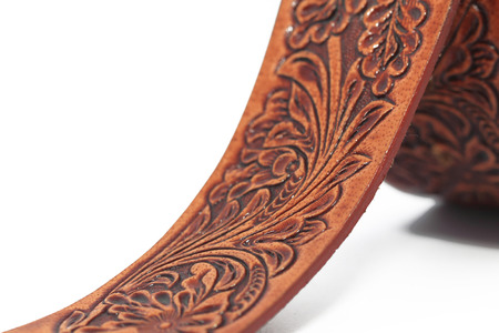 Leather belt with white background Stock Photo