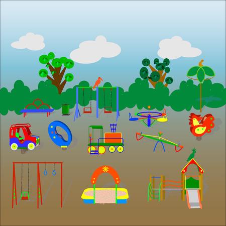 Trece elementos coloridos de un parque infantil con un paisaje Foto de archivo - 84341881