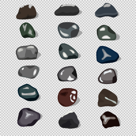 Eighteen natural stones, shadows, flat, transparent background, each element is located on a separate layer