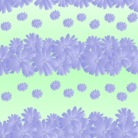 seamless pattern of chicory flowers, light green background. For bed linen, wrapping, packing etc.