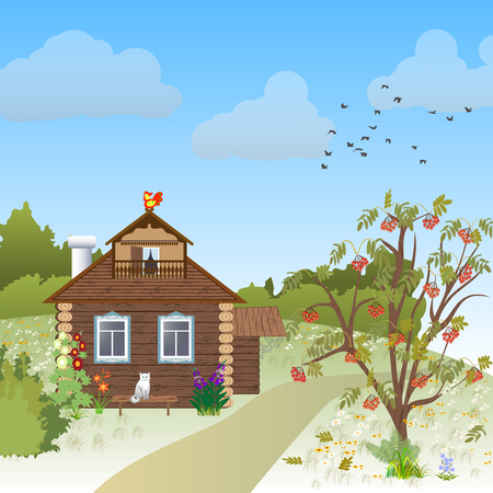 peasant: Wooden rustic house in autumn Illustration