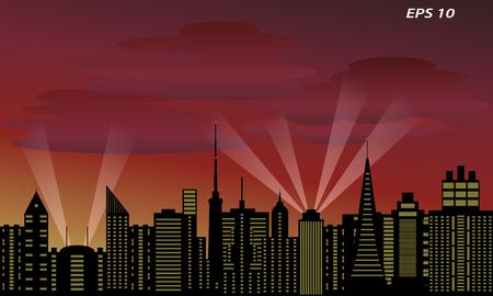 Background of a megalopolis at sunset Illustration