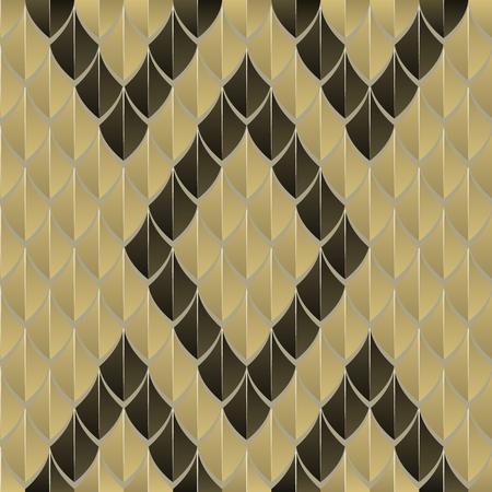 うろこ状シームレスなパターンは、ヘビ皮、幾何学的な黒と黄色を連想させる。