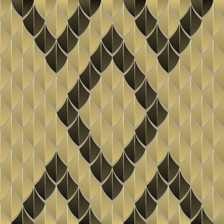 Scaly seamless pattern, reminiscent of snake skin, geometric, black and yellow.