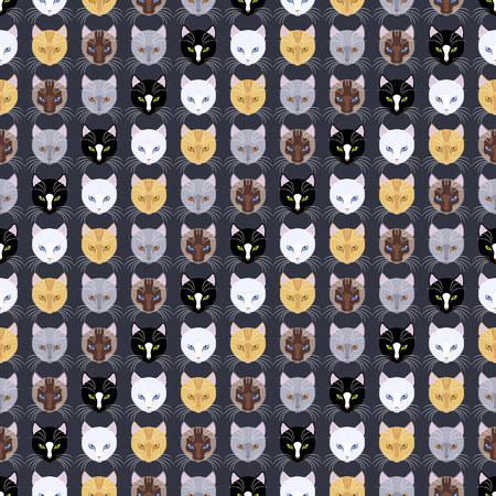 Pattern of different animals heads on a illustration.