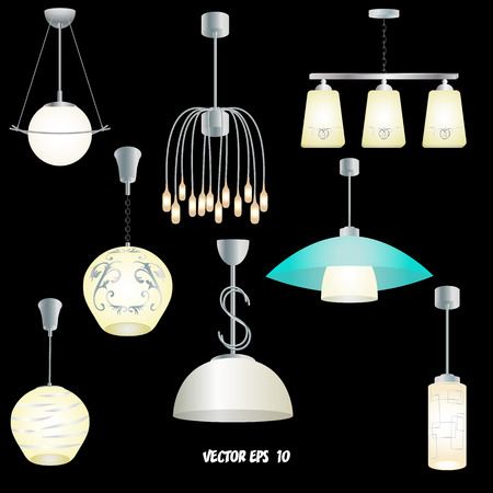 Set of different modern lights for the kitchen, living room, bedroom. Black background. Each object is located on a separate layer Illustration