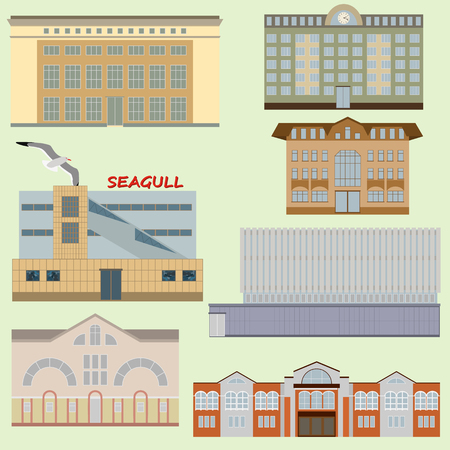Flat design of retro and modern city houses, icons, isolated.  Office, market, supermarket, cafe. Russian city. Each object is located on a separate layer