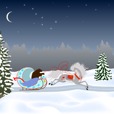 A bear drives a horse in a sleigh on a winter road. Drawing for postcard, poster, congratulations
