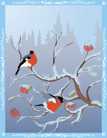 Winter postcard - bullfinches on a snow-covered rowan on the background of a winter forest Illustration