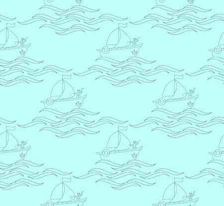 seamless pattern with a sailor on a ship with waves, on light blue background Illustration