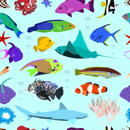 Seamless pattern of colorful marine fishes of sea stars and corals on light background