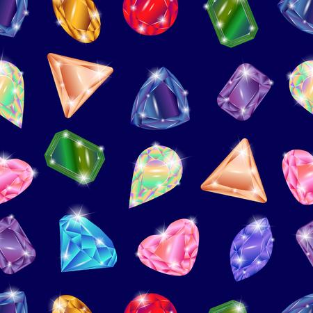 Set of different precious stones - diamond, topaz, ruby, emerald, sapphire, opal, aquamarine, alexandrite, citrine, tourmaline, diamond, garnet. Seamless pattern