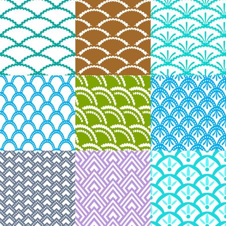 Sammlung verschiedener asiatischer geometrischer Muster (nahtlos fliesen) für Bettwäsche und andere Dinge