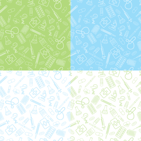 seamless pattern for medical institution, pharmacy, dentistry. White, blue, green lines on white, blue, green background Illusztráció